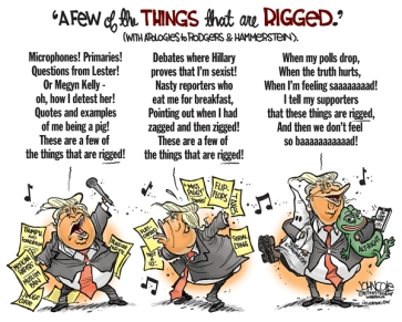 Of course it's all rigged ... he should be winning bigly! Editorial cartoon by John Cole, Scranton Times-Tribune.