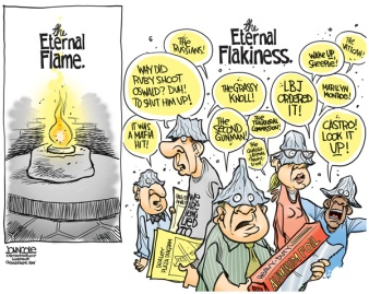 Oh, those tin-foil hats are to die for ... and I have the urge to tell them I sneezed on the roll. Editorial cartoon by John Cole, Scranton Times-Tribune.