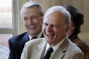 David Pryor (right) and Dale Bumpers laughing at the Governor's Mansion in 2013. Nice old guys. Image by Danny Johnston, AP, found on Helena Independent Record.