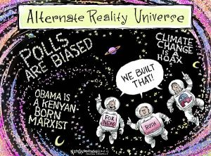 I wish that universe were nowhere near here ... Editorial cartoon by Nick Anderson, Houston Chronicle.