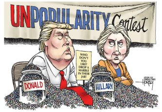 They're both winners! Editorial cartoon by David Horsey, Los Angeles Times.