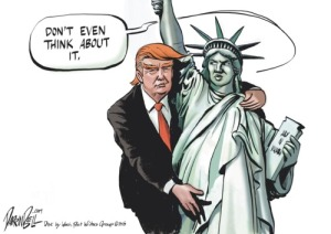 "No, Donnie that plaque says ""your huddled masses,"" not ""grab my ass, man."" Editorial cartoon by Darrin Bell,"