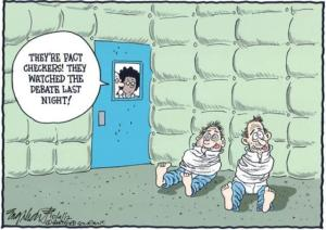 They have the padded room reserved through Nov. 9. Editorial cartoon by Bob Englehart, Hartford Courant.