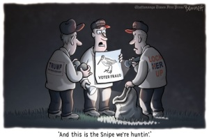 Them snipes is real, I tell ya! Editorial cartoon by Clay Bennett, Chattanooga Times-Free Press.