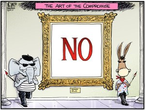 To compromise is weakness, so we'll die before we compromise! Editorial cartoon by Chris Weyant, The Hill.