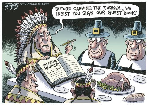 After all, you're new to the country and you don't practice our religion ... Editorial cartoon by Rob Rogers, Pittsburgh Post-Gazette.