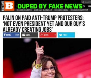 "Breitbart, it's really hard to put any trust in you when you keep posting ""stories"" based on fake news ... do you even check it first? Image found on Snopes."