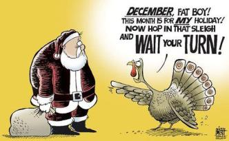 Dang it, Santa ... can you not wait one freakin' day? Editorial cartoon by Randy Bish, Pittsburgh Tribune Review, found on The Wondrous.