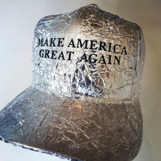 Don't tell them that that tinfoil might make it easier for the government to control them ... shhhh! Tin Foil Hat, 2016 by Matthew Bradley found on Huffington Post.