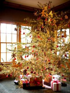 Sorta like the trees we'd have. A lot of red cedars grew around the fence line and in the backyard of the community building, and sometimes one of them would end up as the Christmas tree. Image found on Pinterest.