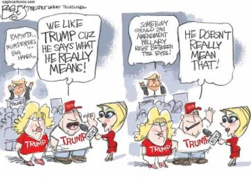 Don't listen to the words he actually says; that's biased! Editorial cartoon by Pat Bagley, Salt Lake Tribune.
