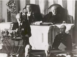 "FDR delivers the ""Day of Infamy"" speech before Congress on Dec. 8, 1941. Image found on National Archives."