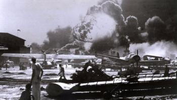 Smoke billows at Pearl Harbor on Dec. 7, 1941. The horror of the day and the bravery of those at Pearl should be what we remember, not conspiracy theories. National Park Service image found on Los Angeles Times.