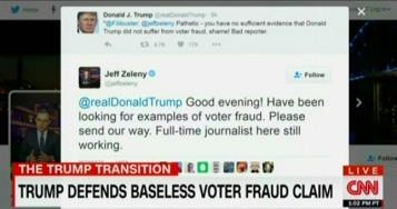 All right, here's the deal: If you make a claim, you back up that claim with evidence. You don't make a claim and demand that others prove you wrong. Jeff Zeleny's response is correct ... and cracks me up. Image found on Media Matters.