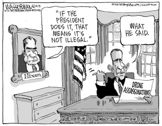 I'm gonna go out on a limb and say no U.S. president has not faced criticism. Editorial cartoon by Dan Wasserman, Boston Globe.