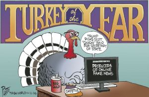 It wouldn't surprise me at all if a turkey were actually writing that tripe. Editorial cartoon by Bruce Plante, Tulsa World.
