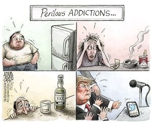 Somebody get him to a 12-step program, STAT! Editorial cartoon by Adam Zyglis, Buffalo News.