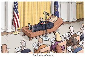 The press is not, however, a therapist. Editorial cartoon by Clay Bennett, Chattanooga Times-Free Press.