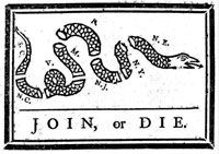 This cartoon first appeared in the May 9, 1754, edition of Franklin's Pennsylvania Gazette. Image found on TeachingHistory.org.