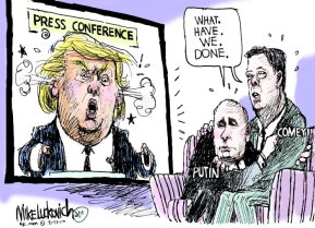But no, he wasn't ranting and raving. It was just a typical Thursday. Editorial cartoon by Mike Luckovich, Atlanta Journal-Constitution.