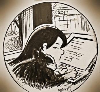 Pretty much every day with Luke. Rotten sweet boy. Illustration by my favorite artist/cartoonist, John Deering.