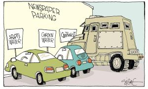 Some cartoonists should probably consider upgrading their transportation to this ... Editorial cartoon by Signe Wilkinson, Philadelphia Daily News.