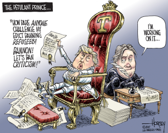 Oh, that's just so mean! Only nice things should be said!!! Editorial cartoon by David Horsey, Los Angeles Times.
