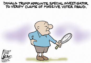 Mr. Magoo will find it, I know he will! Editorial cartoon by Chan Lowe, Tribune Content Agency.